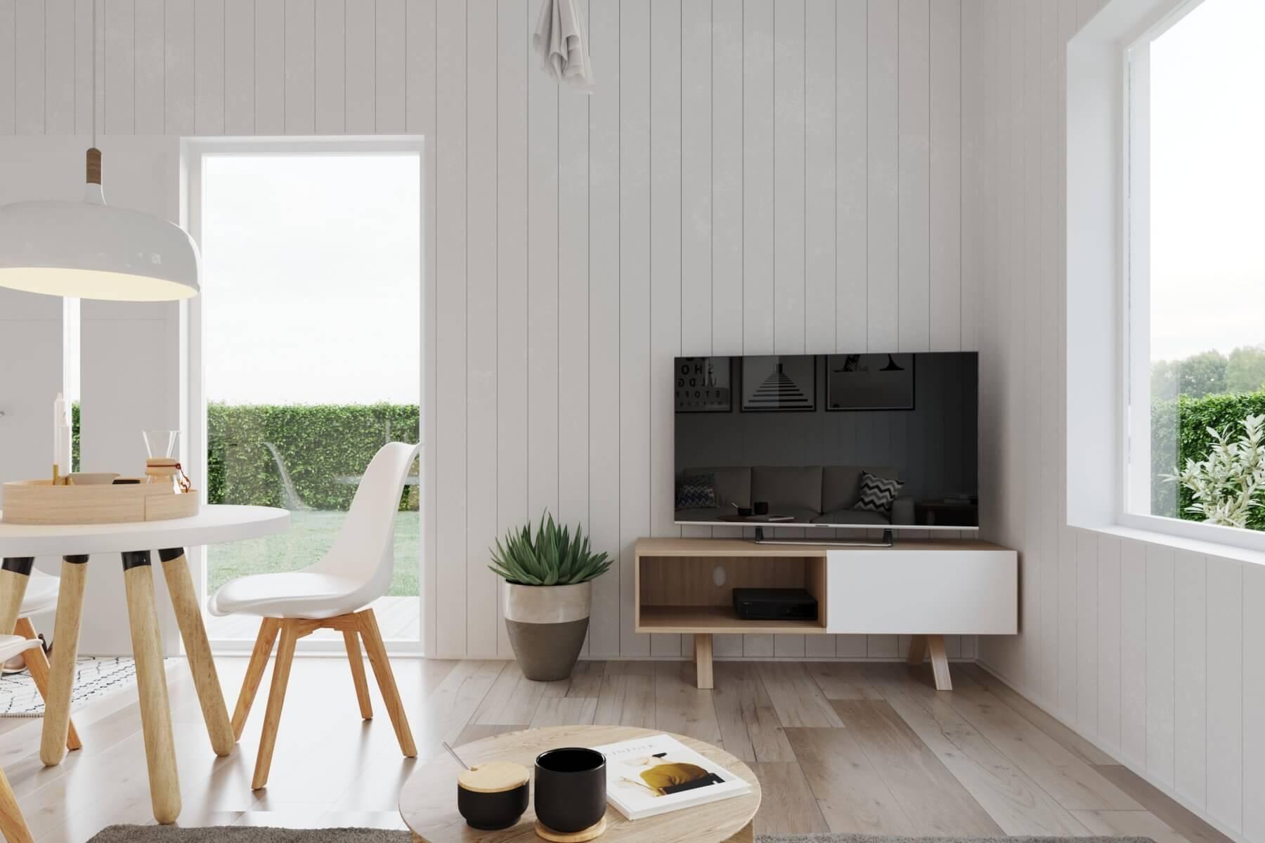 Tv-hörna med vertikala väggpaneler
