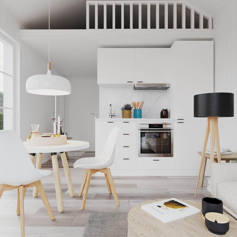 Kök med vita köksluckor och inudktionshäll i attefallshus med klassiskt sadeltak