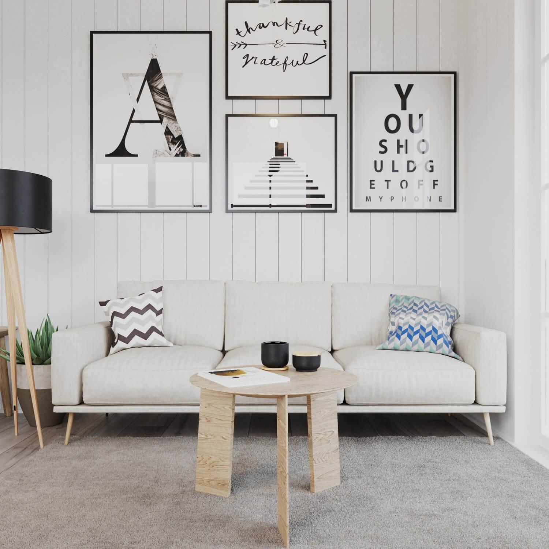 Soffhörna med soffbord i attefallshus