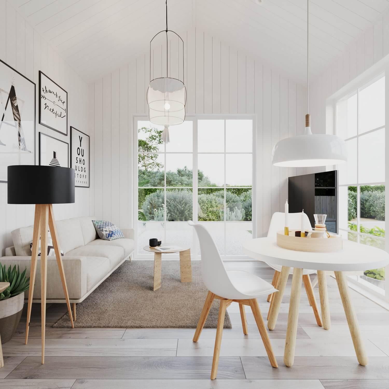 Vardagsrum med soffa, soffbord och tv i attefallshus med klassiskt sadeltak och panoramafönster