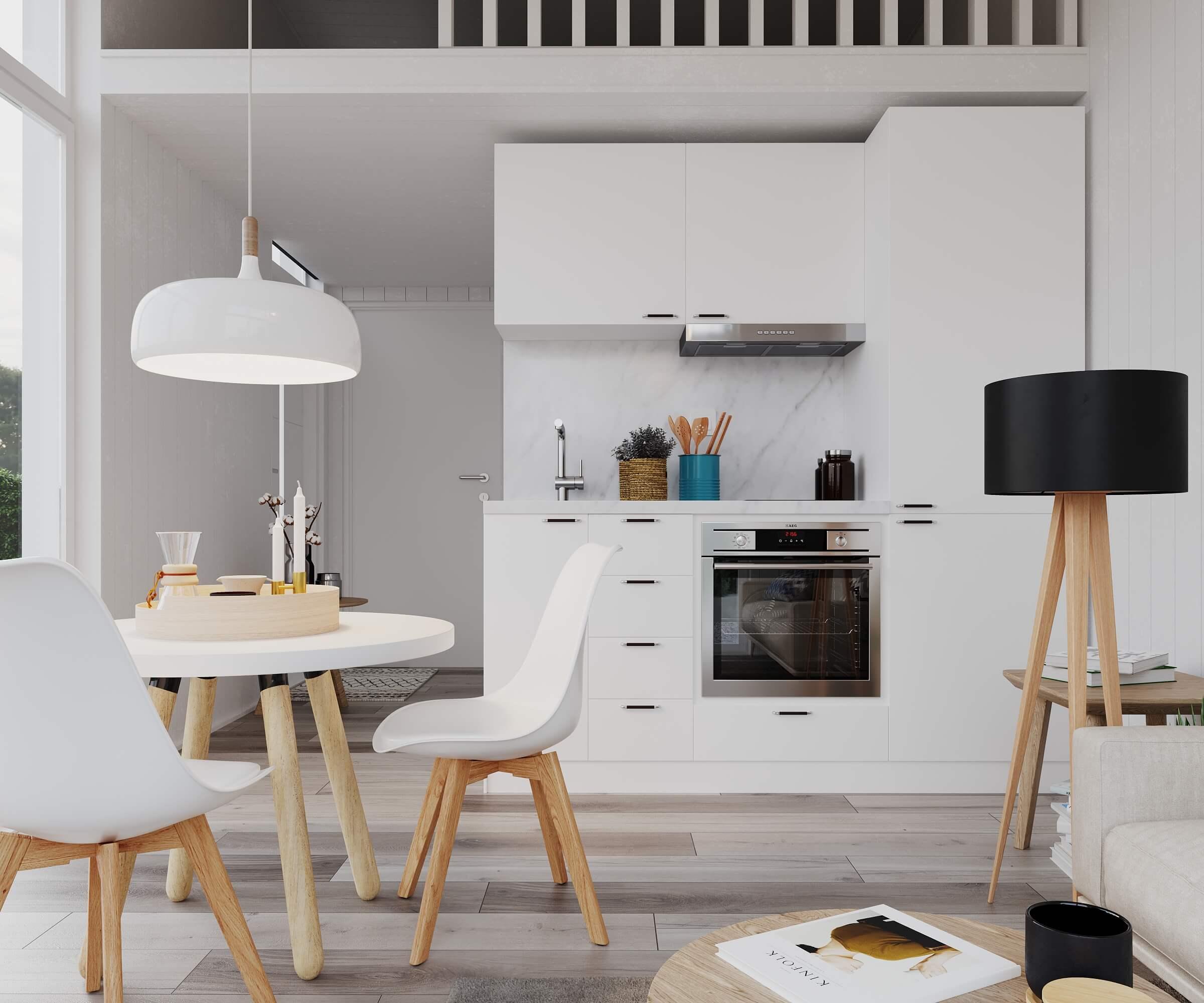 Kök med vita köksluckor och inudktionshäll i attefallshus