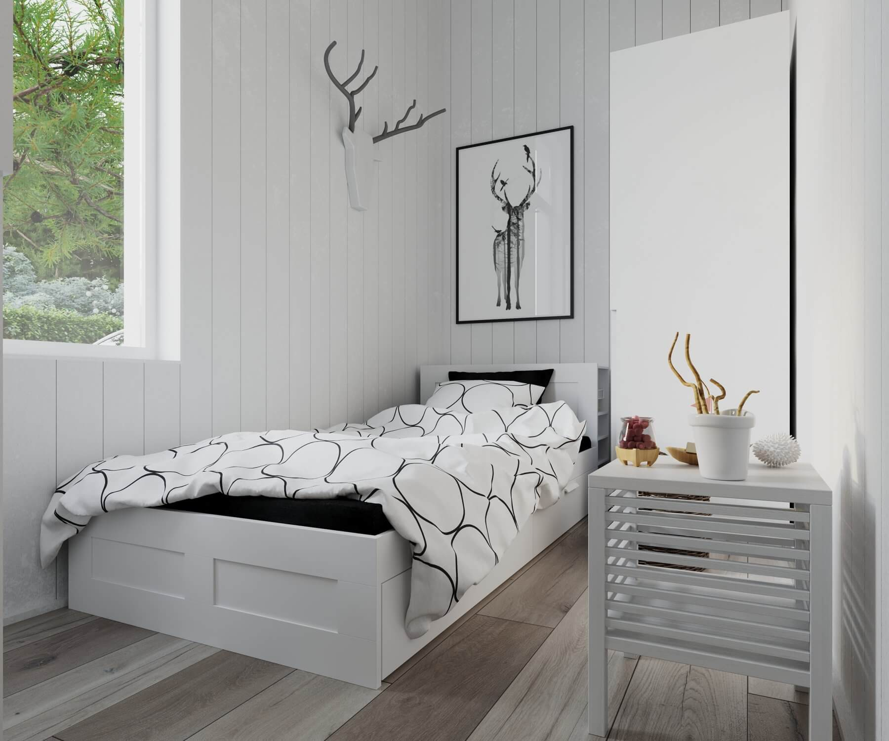 Sovrum med säng och garderob i attefallshus