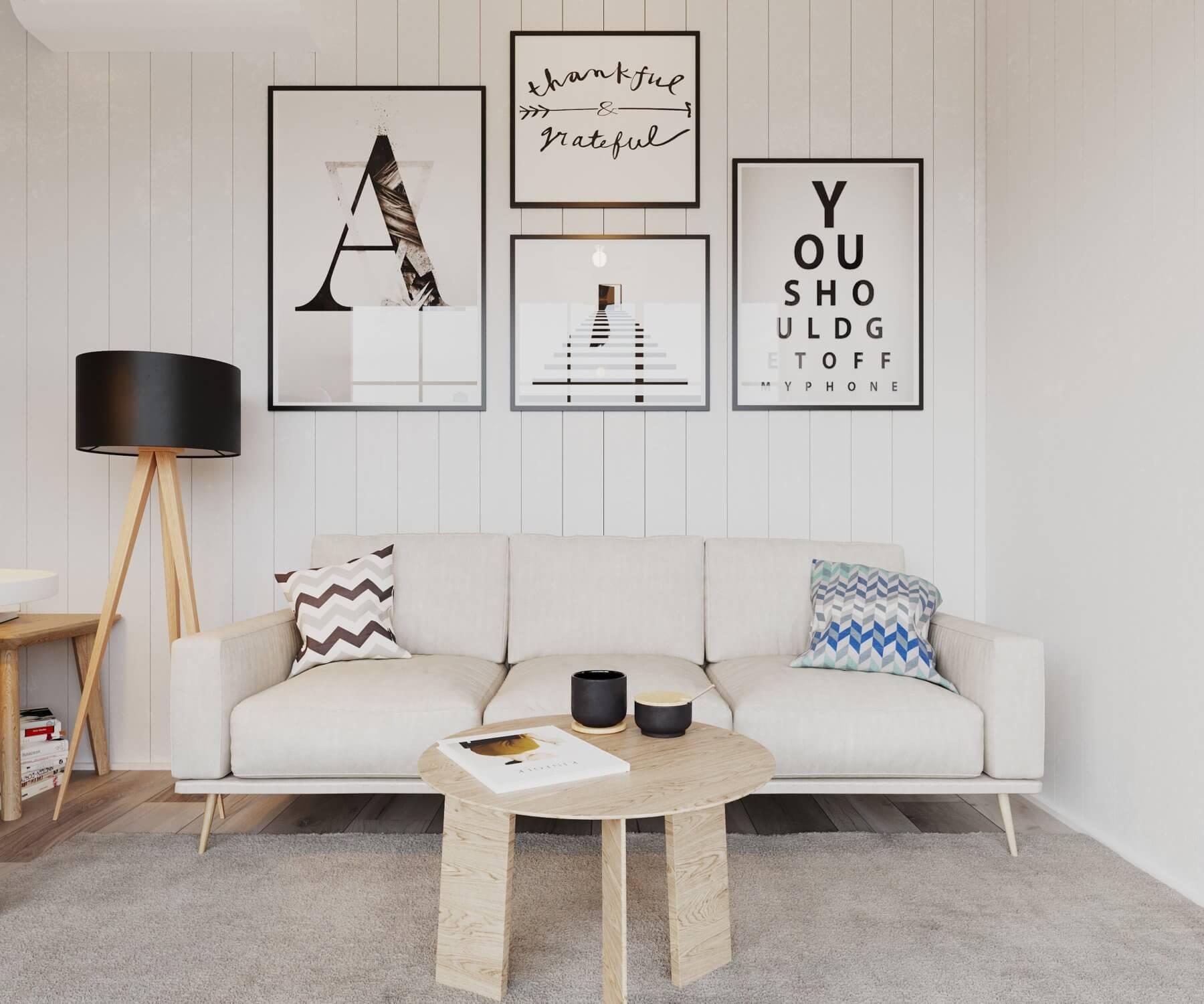 Soffhörna i attefallshus med soffa och soffbord