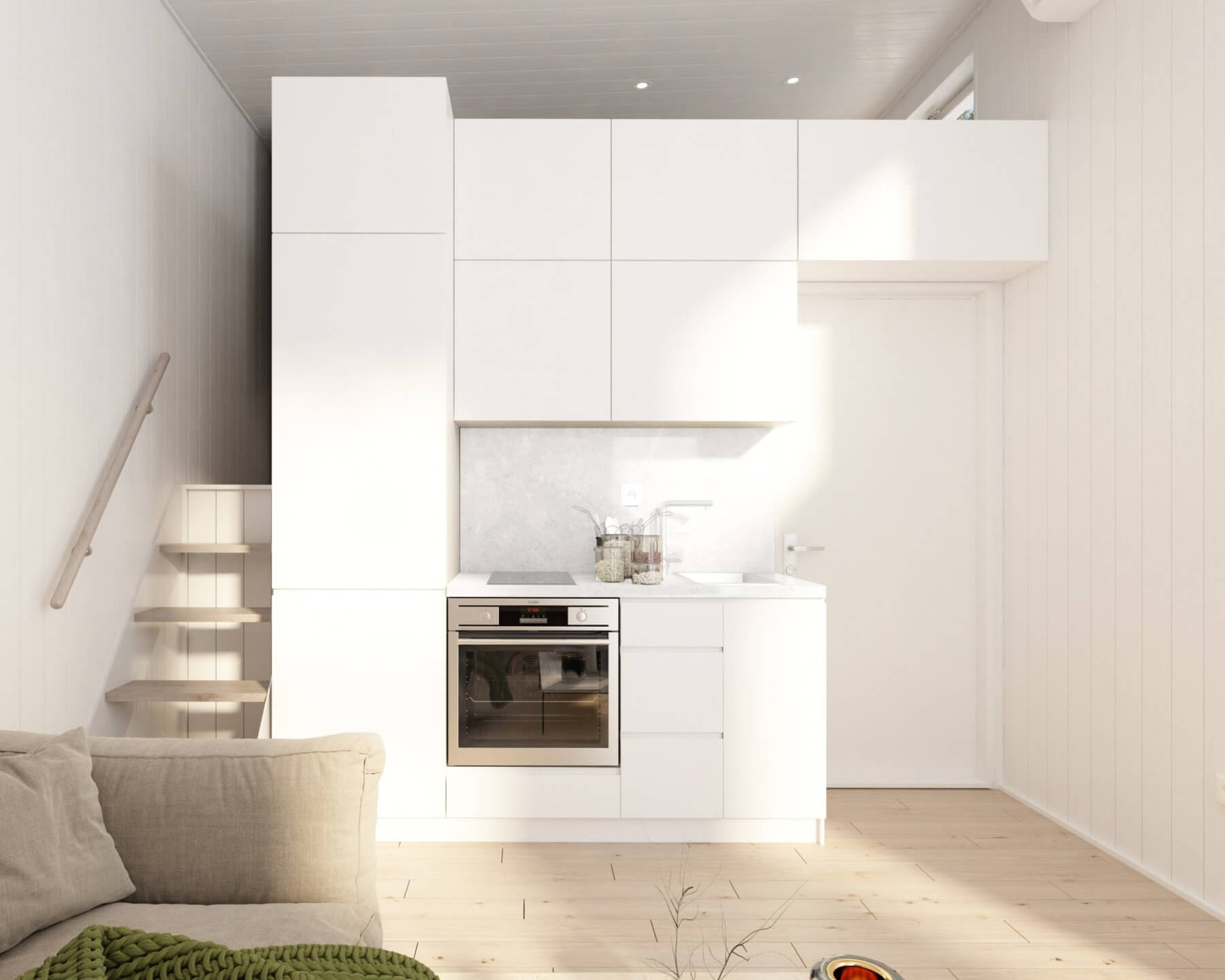 Attefallshus trend 25.3 ljust kök med vita köksluckor