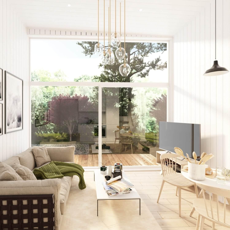 Attefallshus Panorama 25.3 härligt vardagsrum
