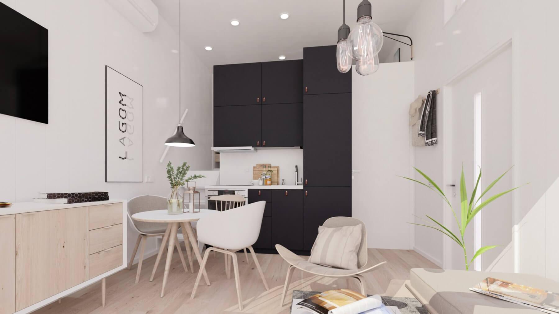 Attefallshus Panorama 25.3 kök med svarta köksluckor