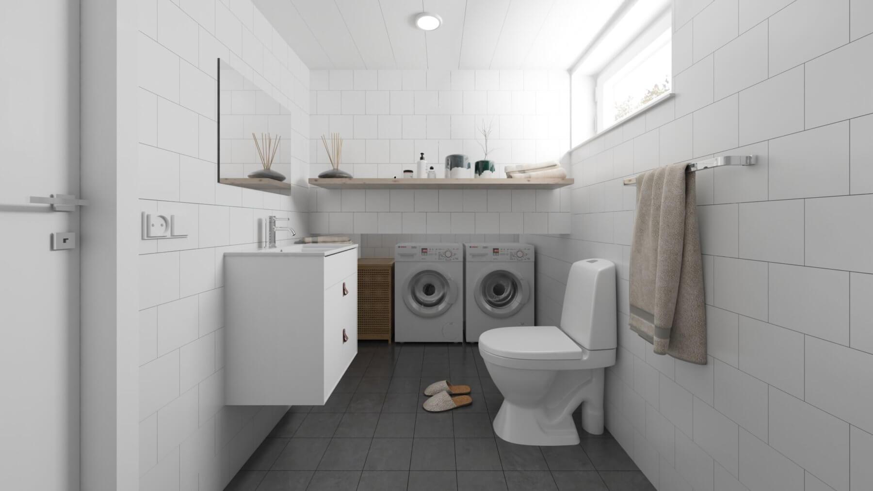 Attefallshus Panorama 25.3 badrum med tvättmaskin, toalett och handfat