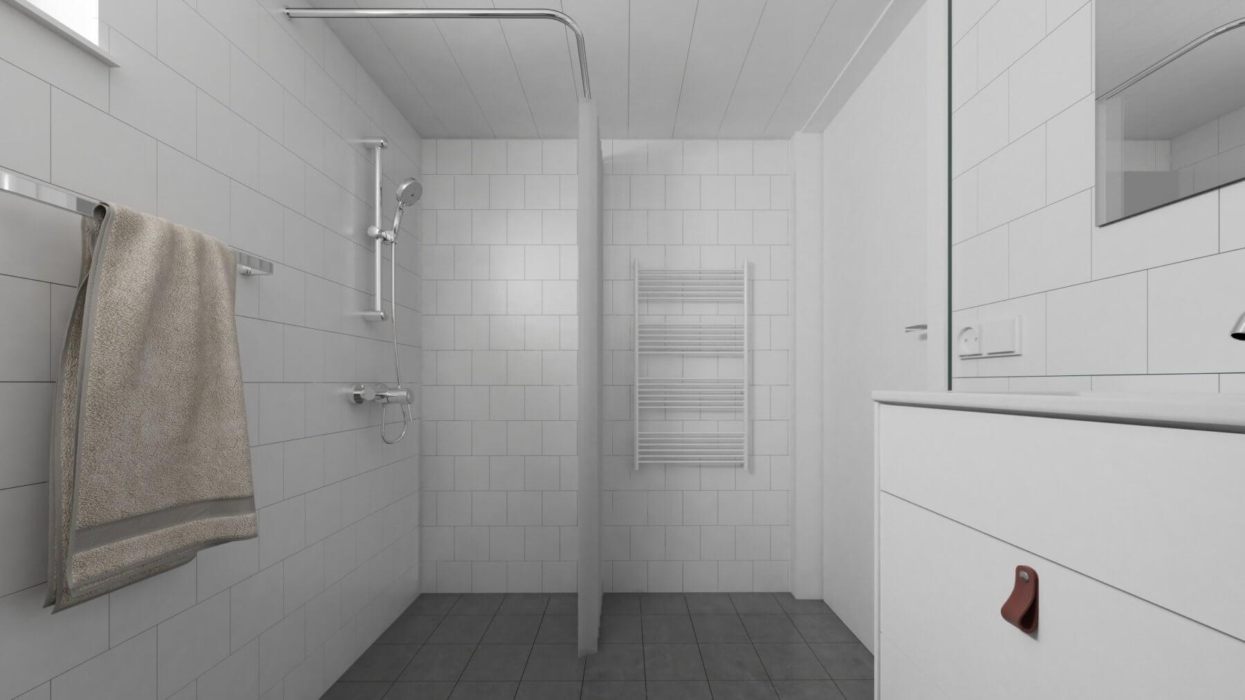 Attefallshus Panorama 25.3 dusch och handdukstork i badrum