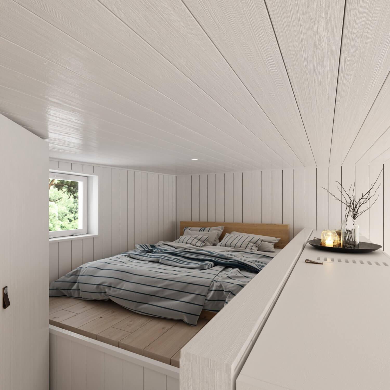 Attefallshus Panorama 25.3 sovloft med dubbelsäng