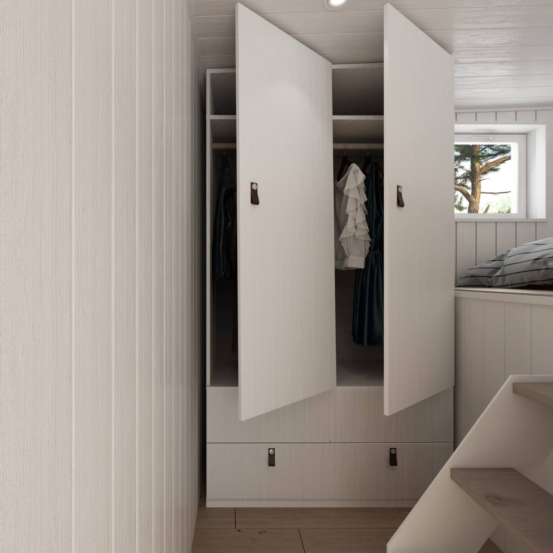 Attefallshus Panorama 25.3 garderob med öppna dörrar