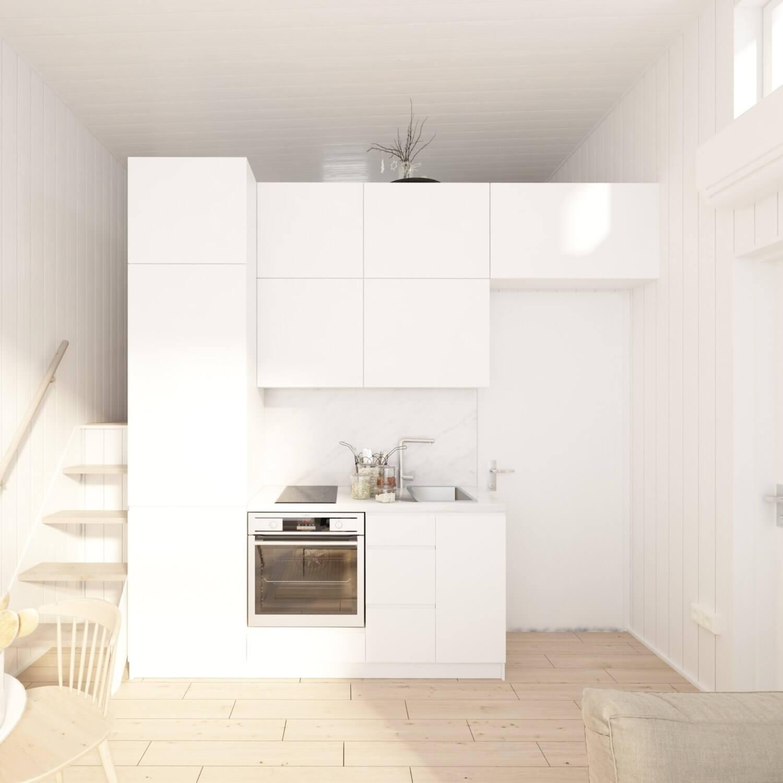 Attefallshus Panorama 25.3 ljust kök med vita köksluckor