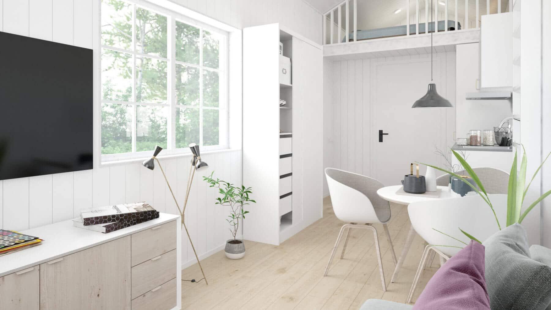 Ljust vardagsrum och matplats i attefallshus 25 kvm med klassiskt sadeltak
