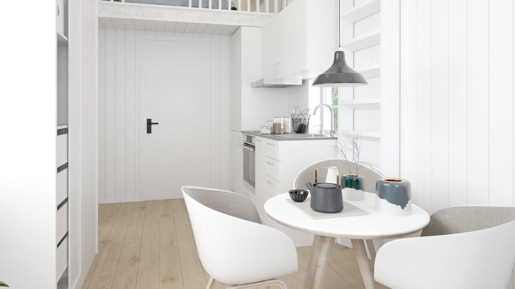 Ljust kök och matplats i attefallshus 25 kvm med klassiskt sadeltak