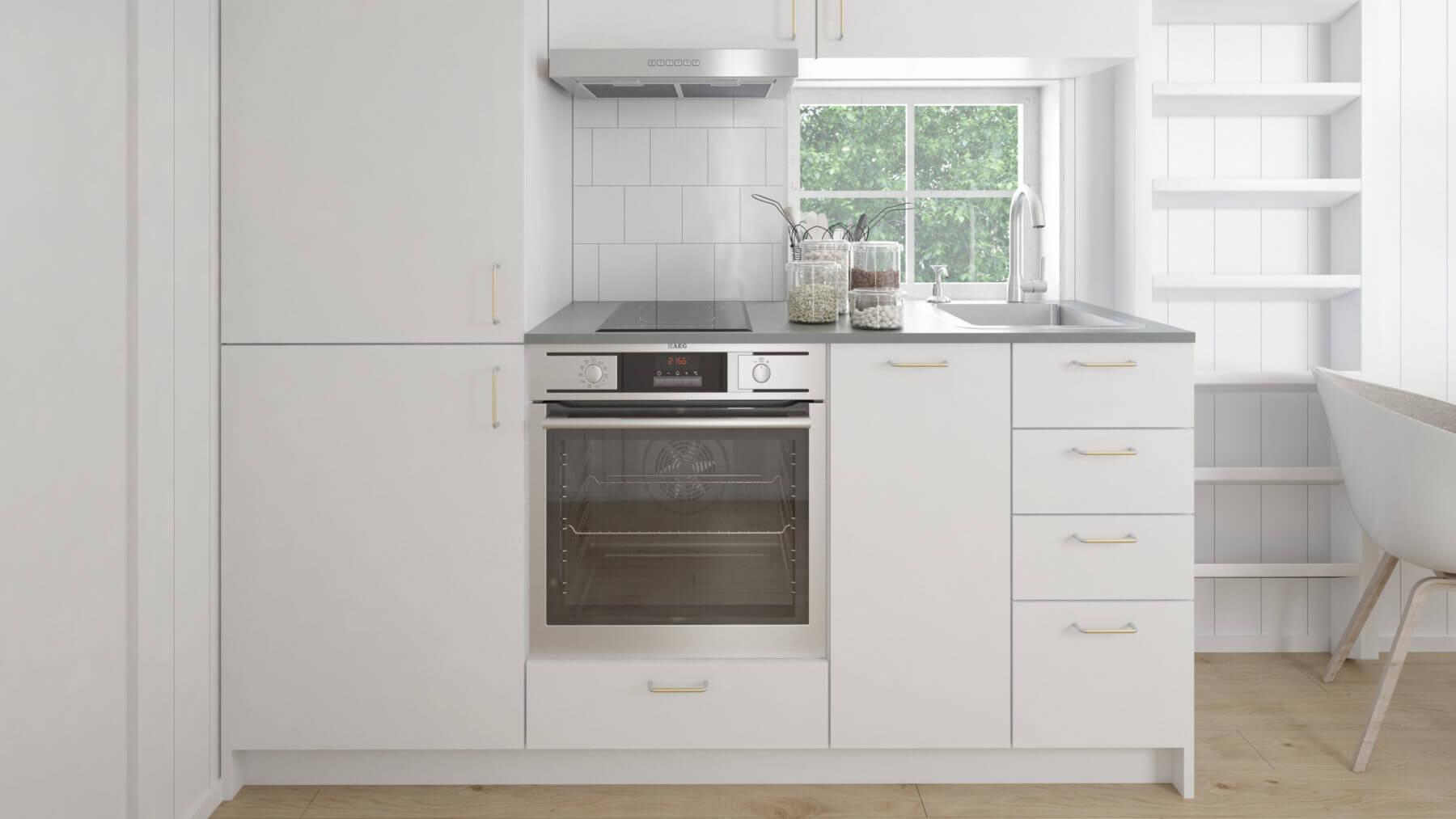 Attefallshus Klassisk 25.1 ljust kök med vita köksluckor