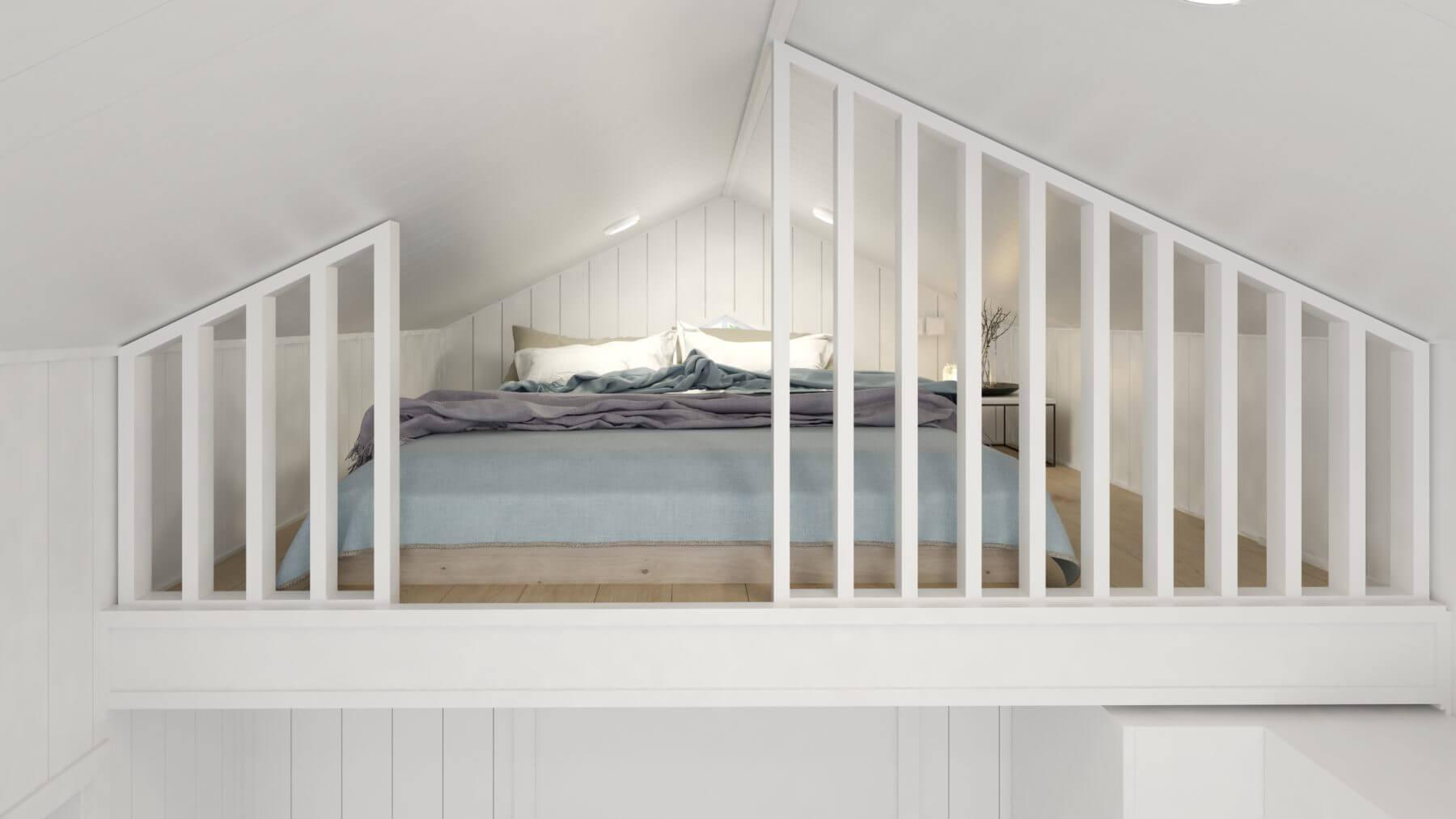 Attefallshus Klassisk 25.1 sovloft med dubbelsäng och vitt lofträcke