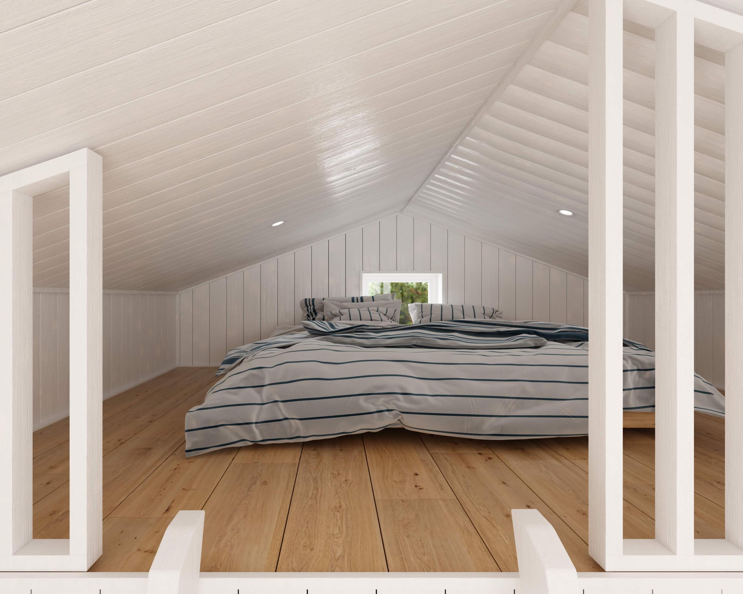 Attefallshus Klassisk 25.2 sovloft med dubbelsäng och spotlights i tak