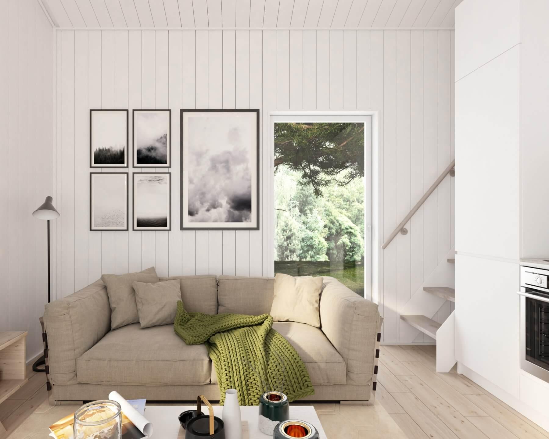 Attefallshus klassisk  25.3 vardagsrum med vertikala träpaneler