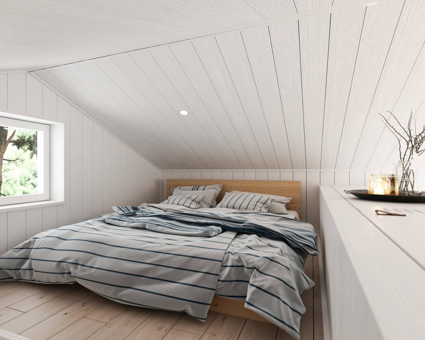 Attefallshus klassisk  25.3 loft med dubbelsäng och spotlight i tak