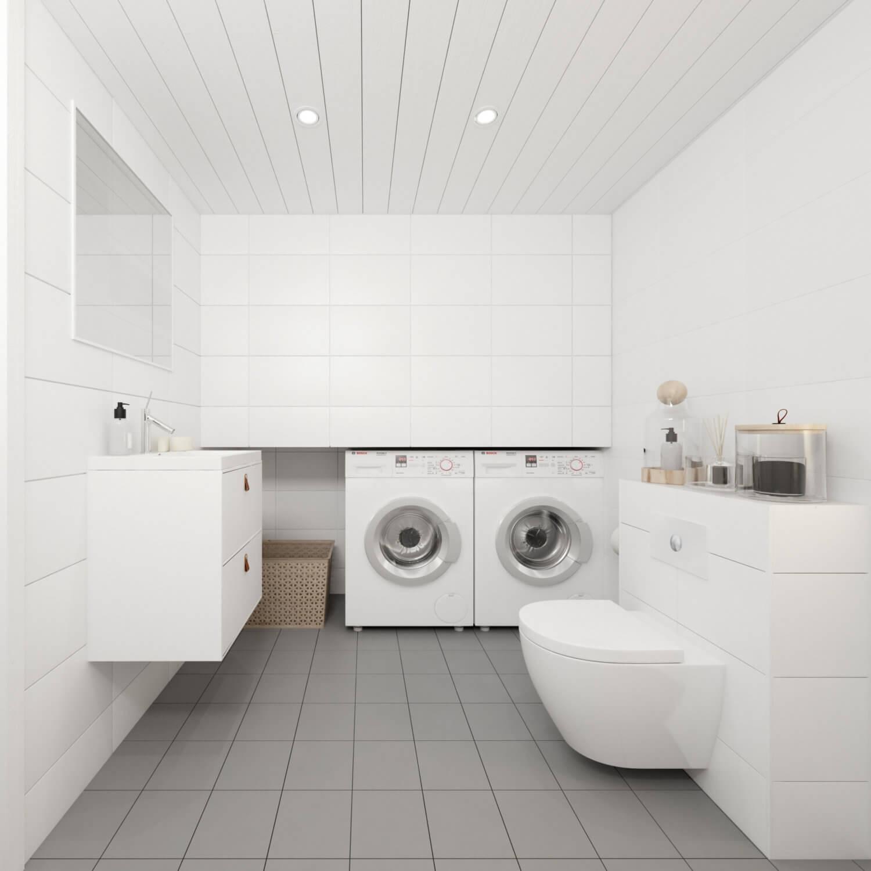 Attefallshus klassisk  25.3 vitt badrum