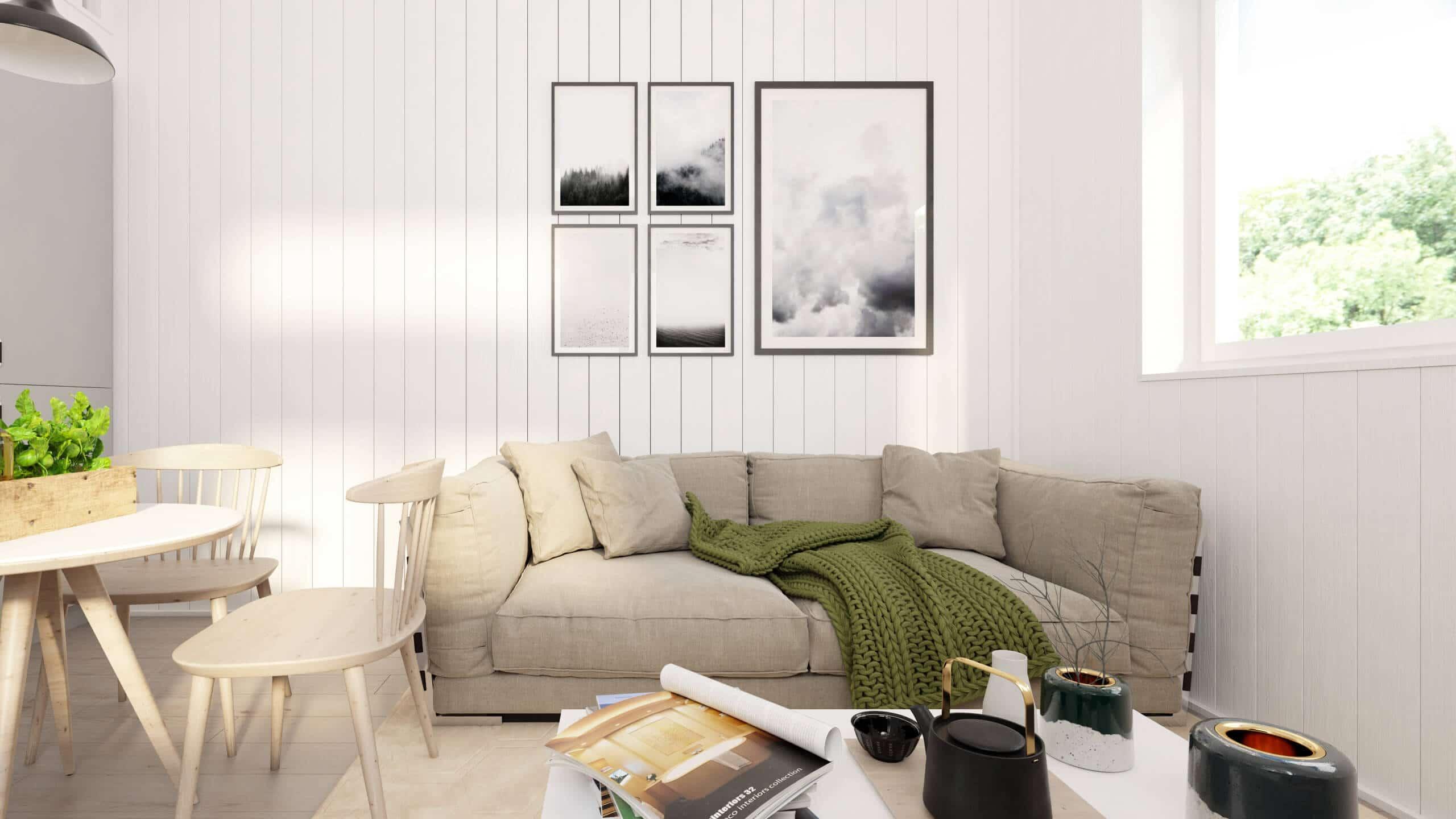 Attefallshus Pulpet 25.2 vardagsrum med vertikala träpaneler