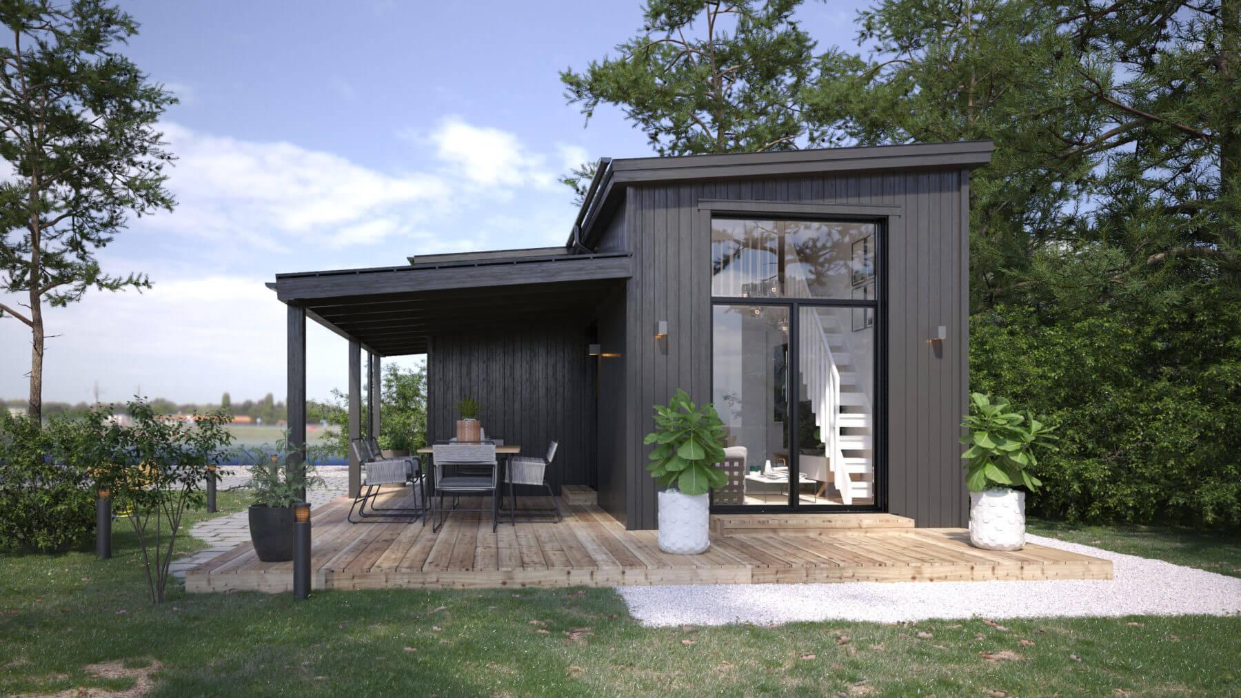 Svart Attefallshus på 25 kvm med pulpettak och altan