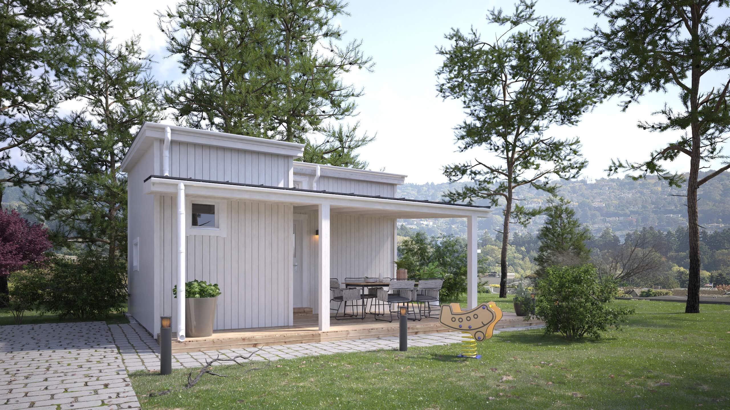Vitt Attefallshus på 25 kvm med vertikala träpaneler och pulpettak