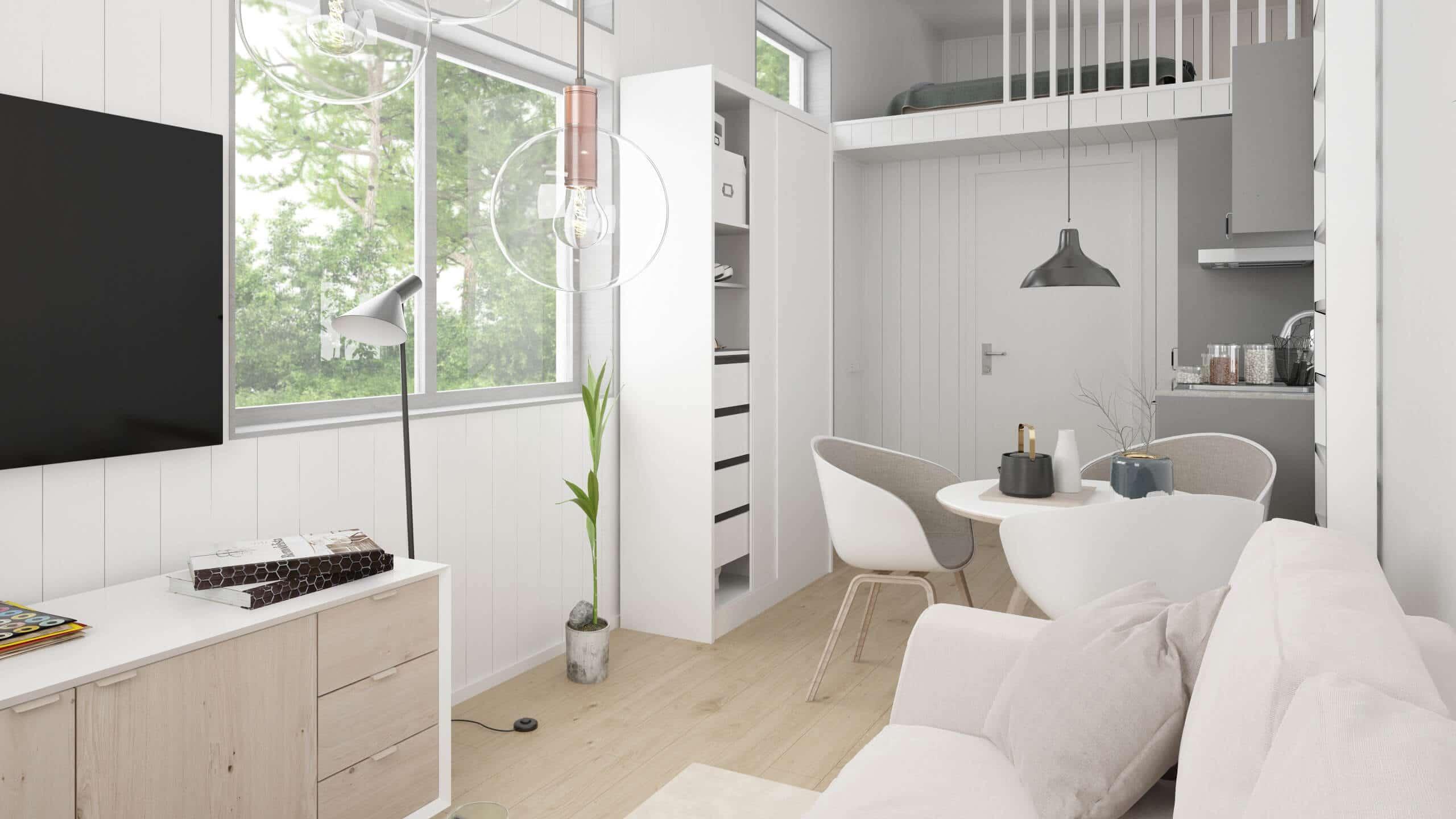 Attefallshus Rak 25.1 vardagsrum med soffa, tv och tv-bänk