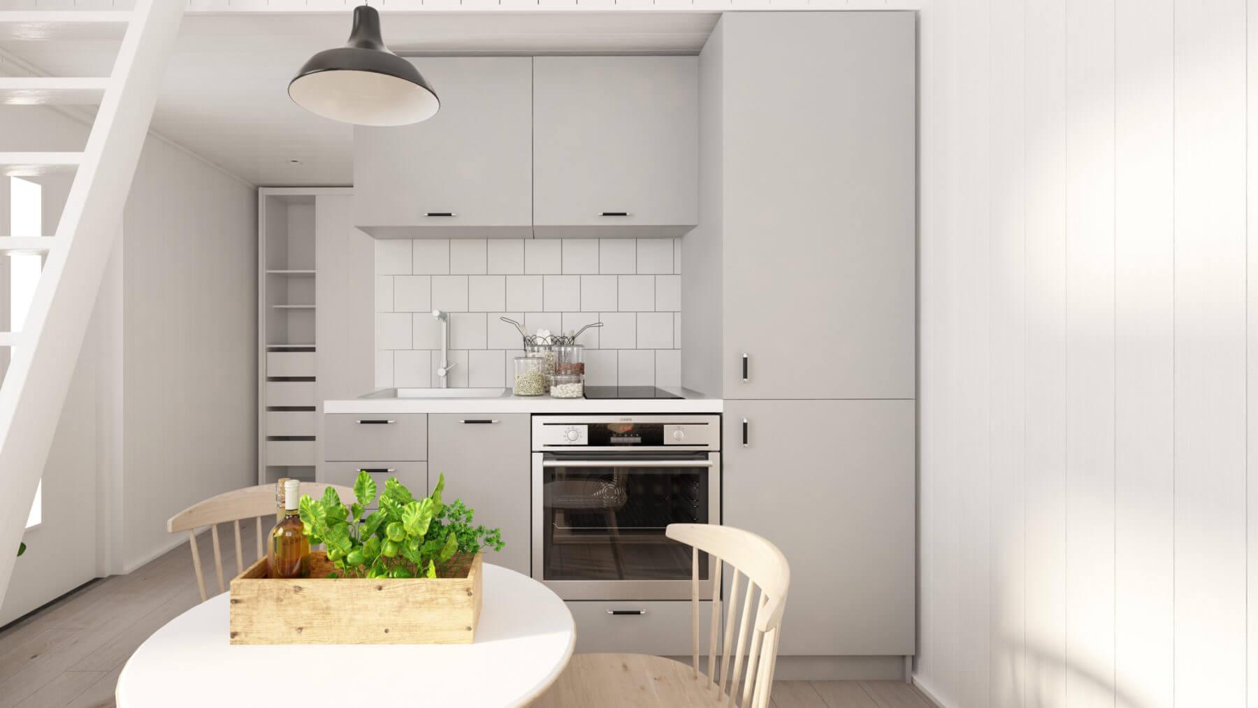 Attefallshus Rak 25.2 kök med gråa köksluckor