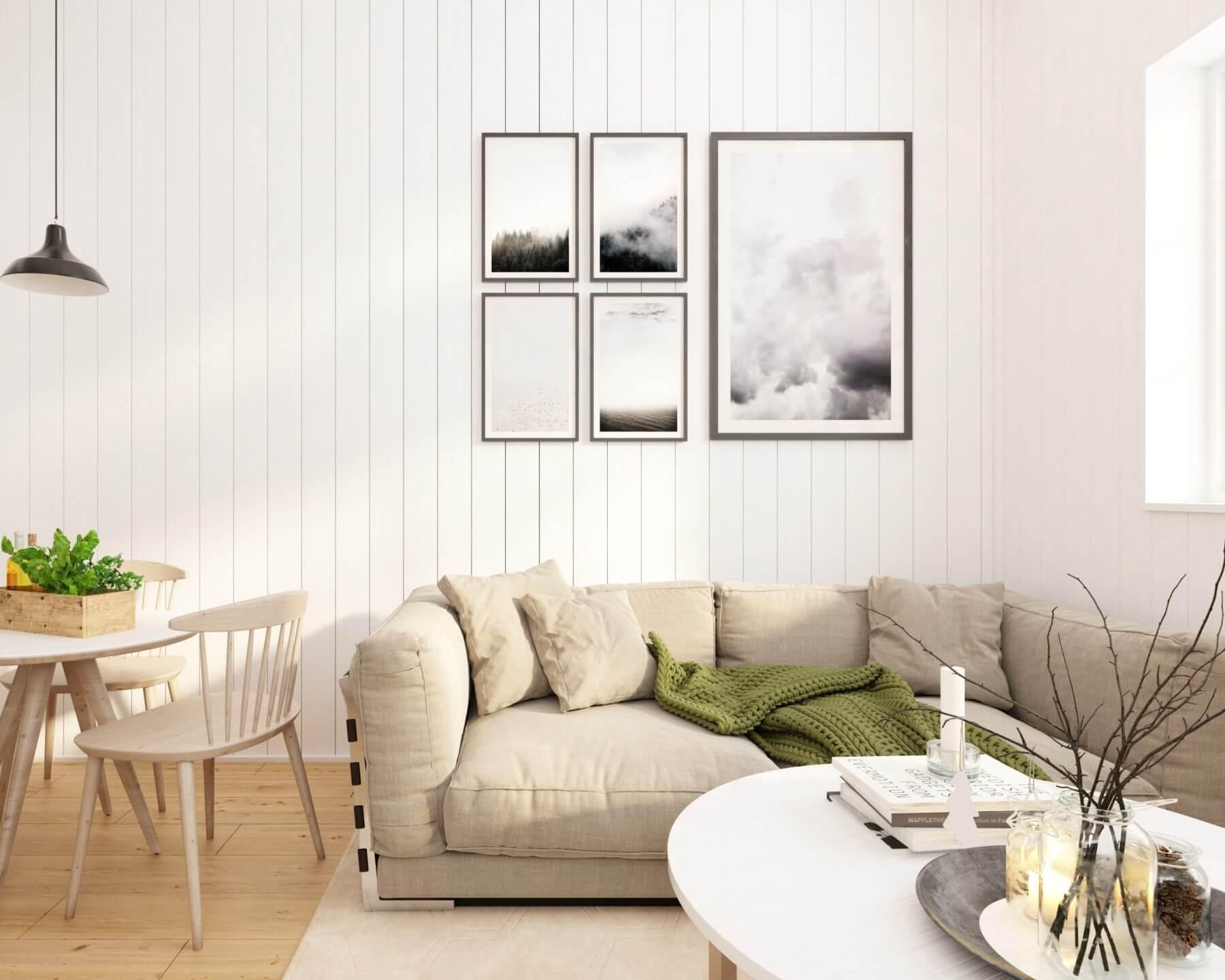Attefallshus Rak 25.2 soffhörna med soffa och soffbord