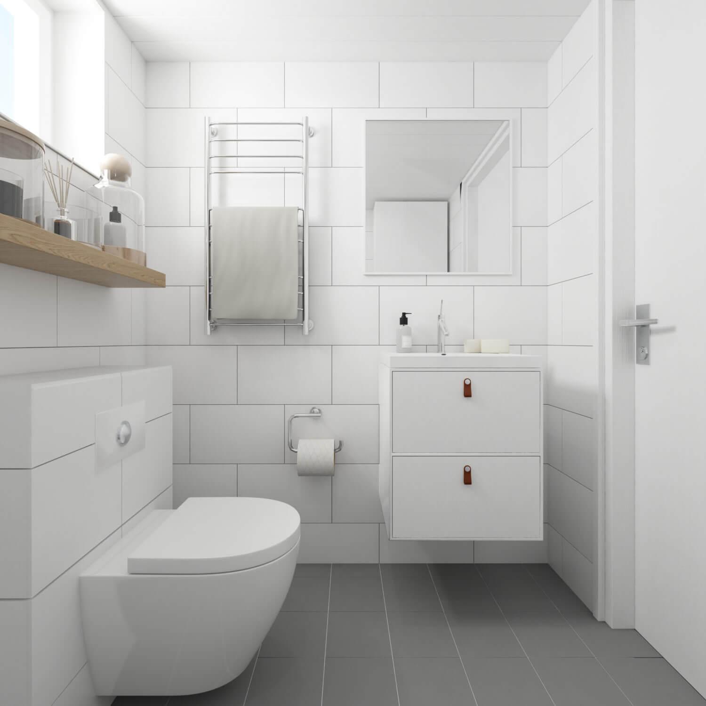 Attefallshus Rak 25.2 badrum med toalett, handdukstork, handfat och spegel