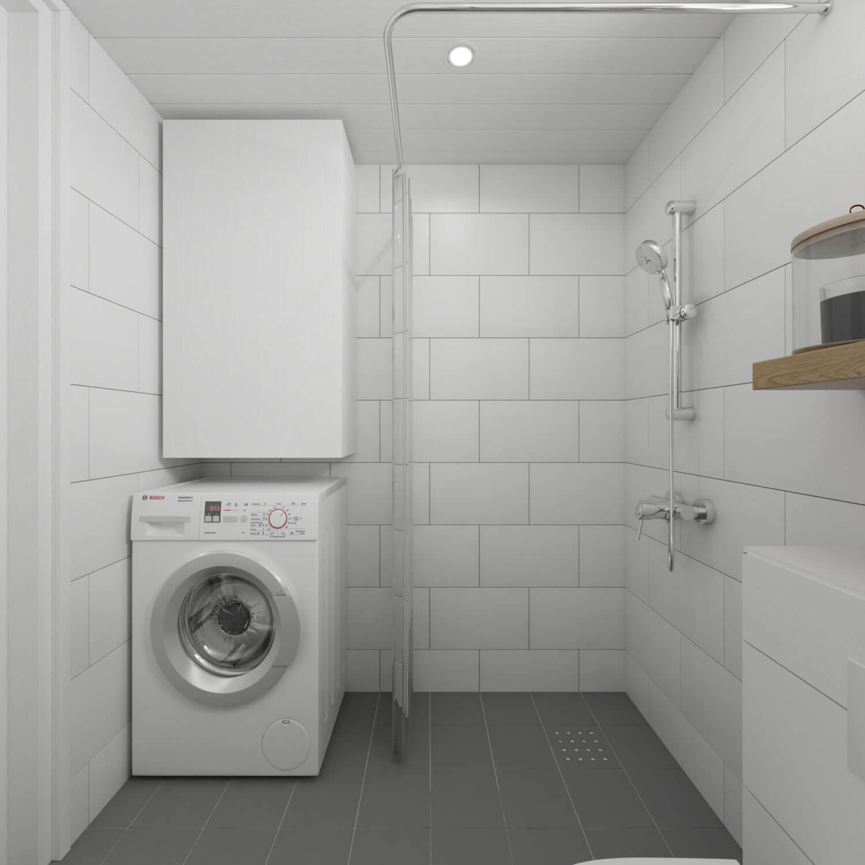 Vitt badrum med tvättmaskin och dusch i Attefallshus med rakt tak