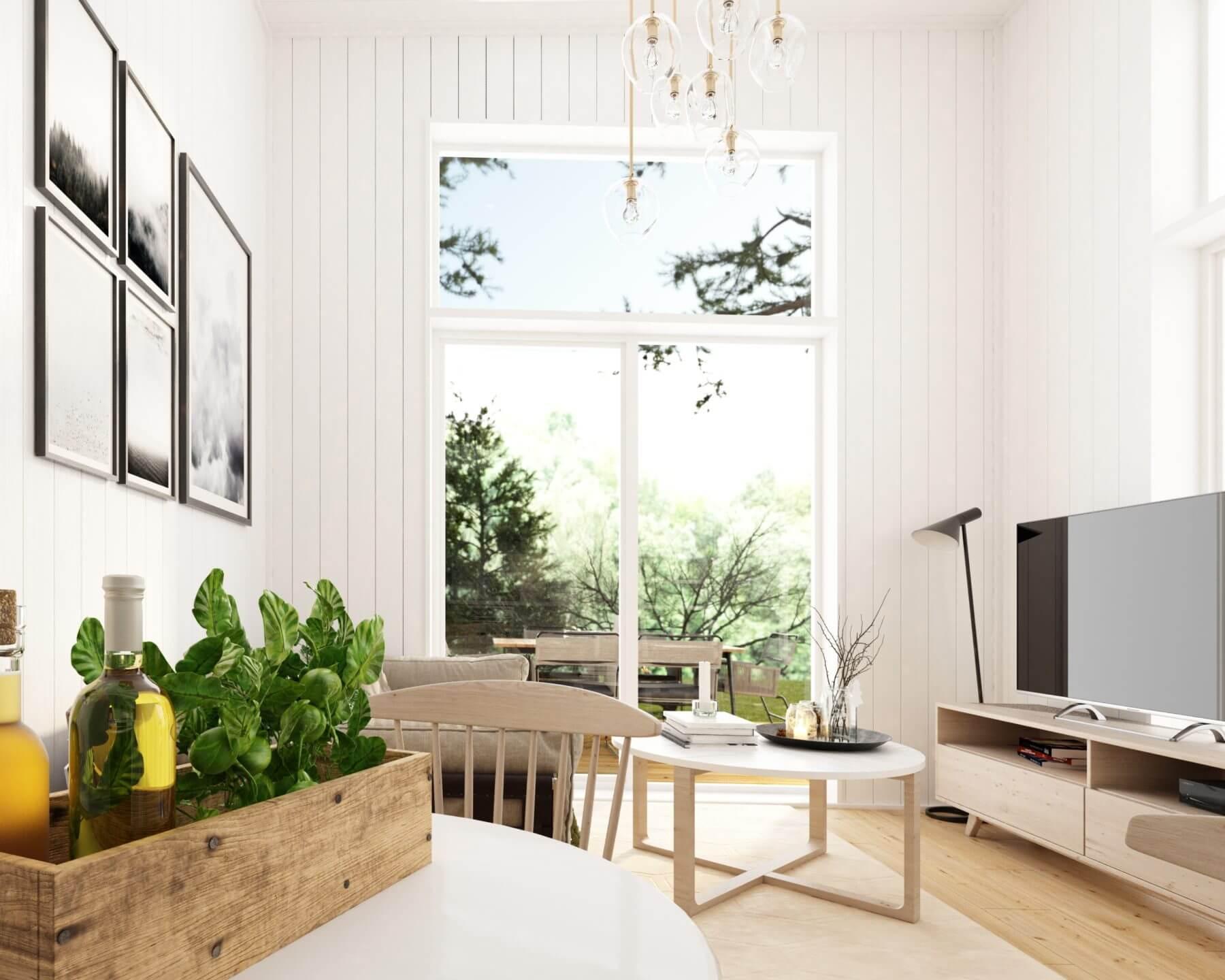 Vardagsrum med panoramafönster i Attefallshus med rakt tak