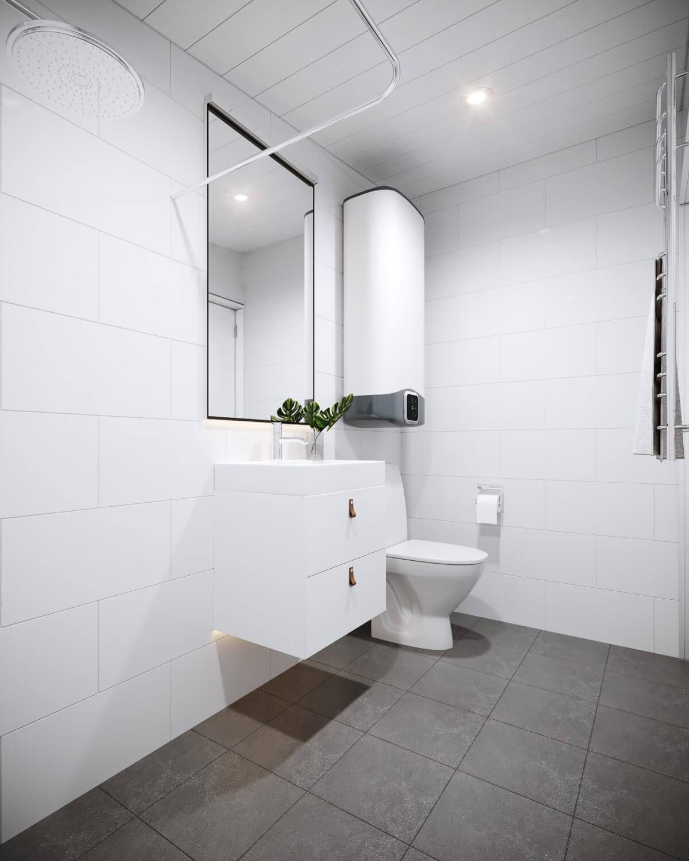 Kaklat, ljust badrum i 15 kvm stor Friggebod med pulpettak