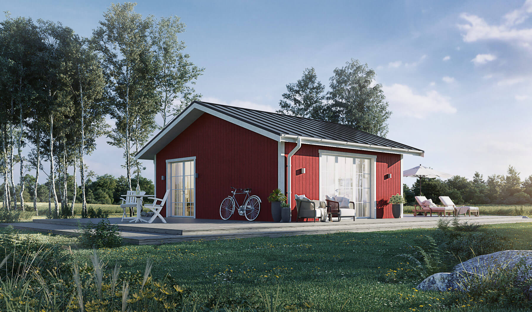 Fritidshus på 40  kvm med Faluröd fasad och klassiskt sadeltak