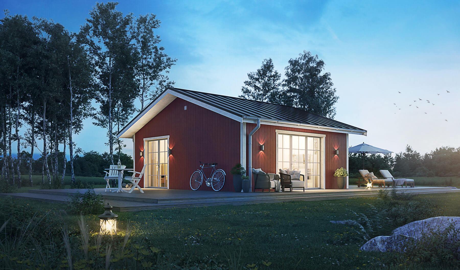 Fritidshus på 40  kvm med Faluröd fasad och klassiskt sadeltak. kväll