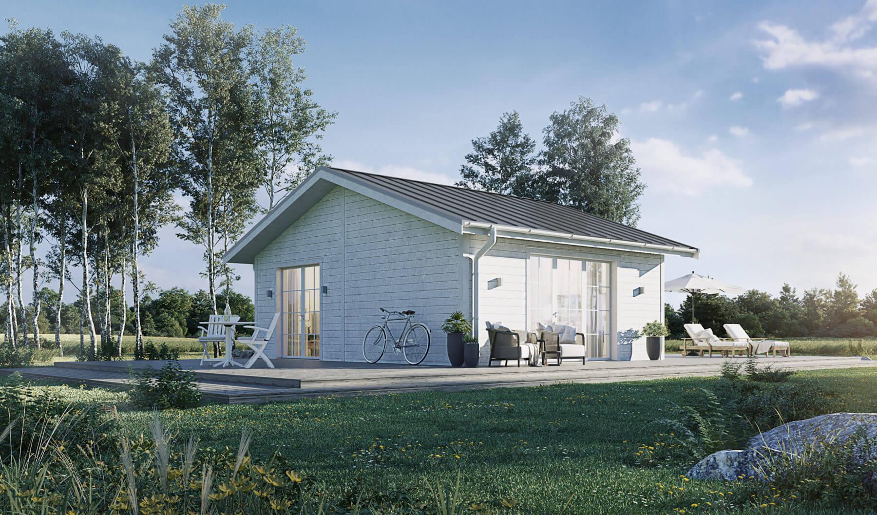 Fritidshus på 40  kvm med vit fasad och klassiskt sadeltak