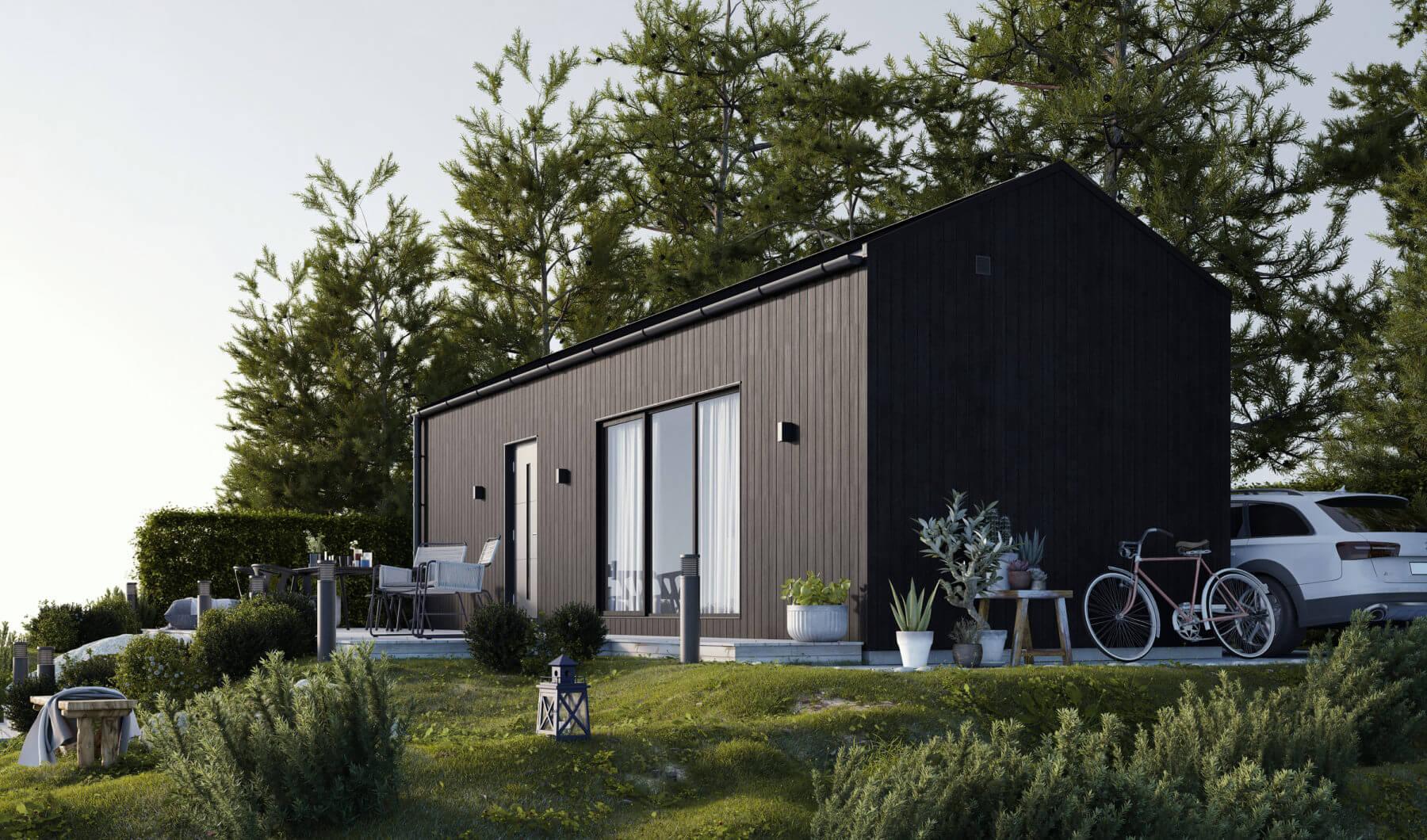 Svart fritidshus med klassiskt tak i svart