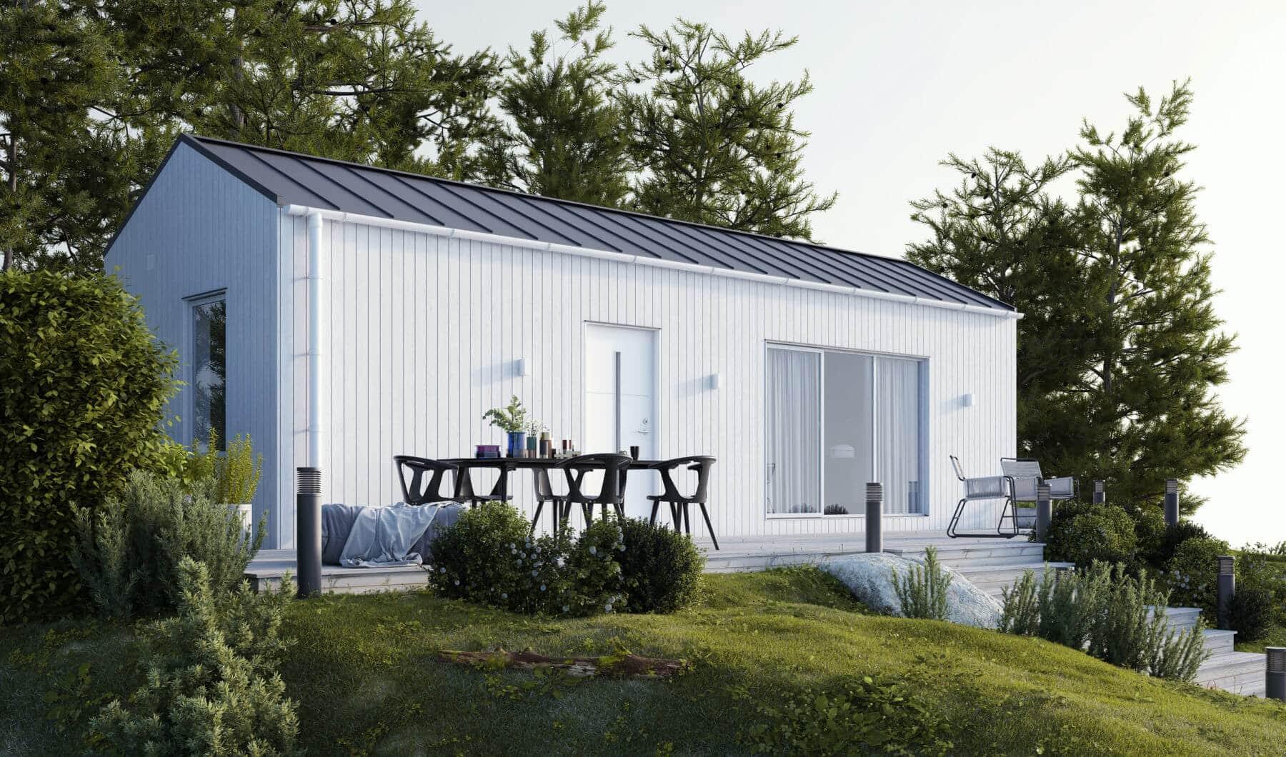 Vitt fritidshus med klassiskt tak