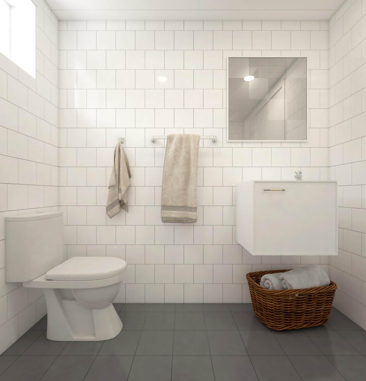 Kaklat, ljust badrum i Fritidshus på 50 kvm med klassiskt sadeltak