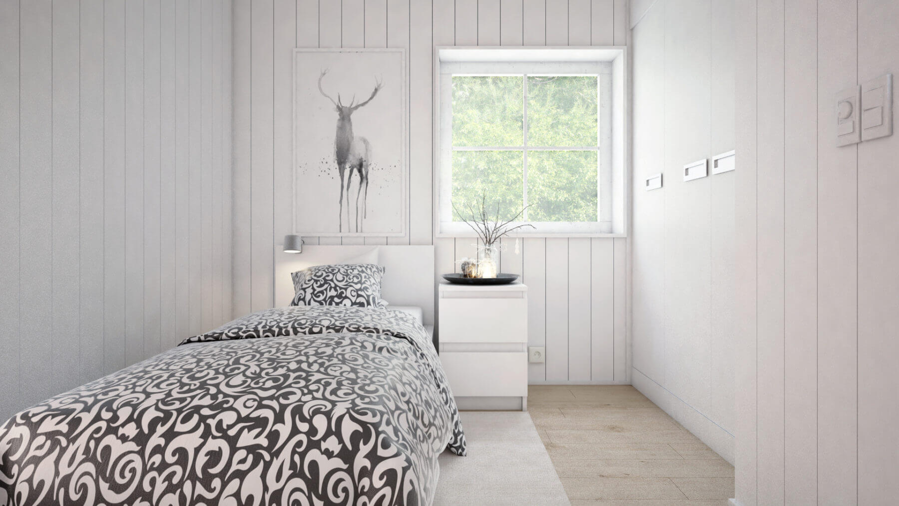 Fritidshus Klassisk 50.1 sovrum med säng, sängbord och garderober
