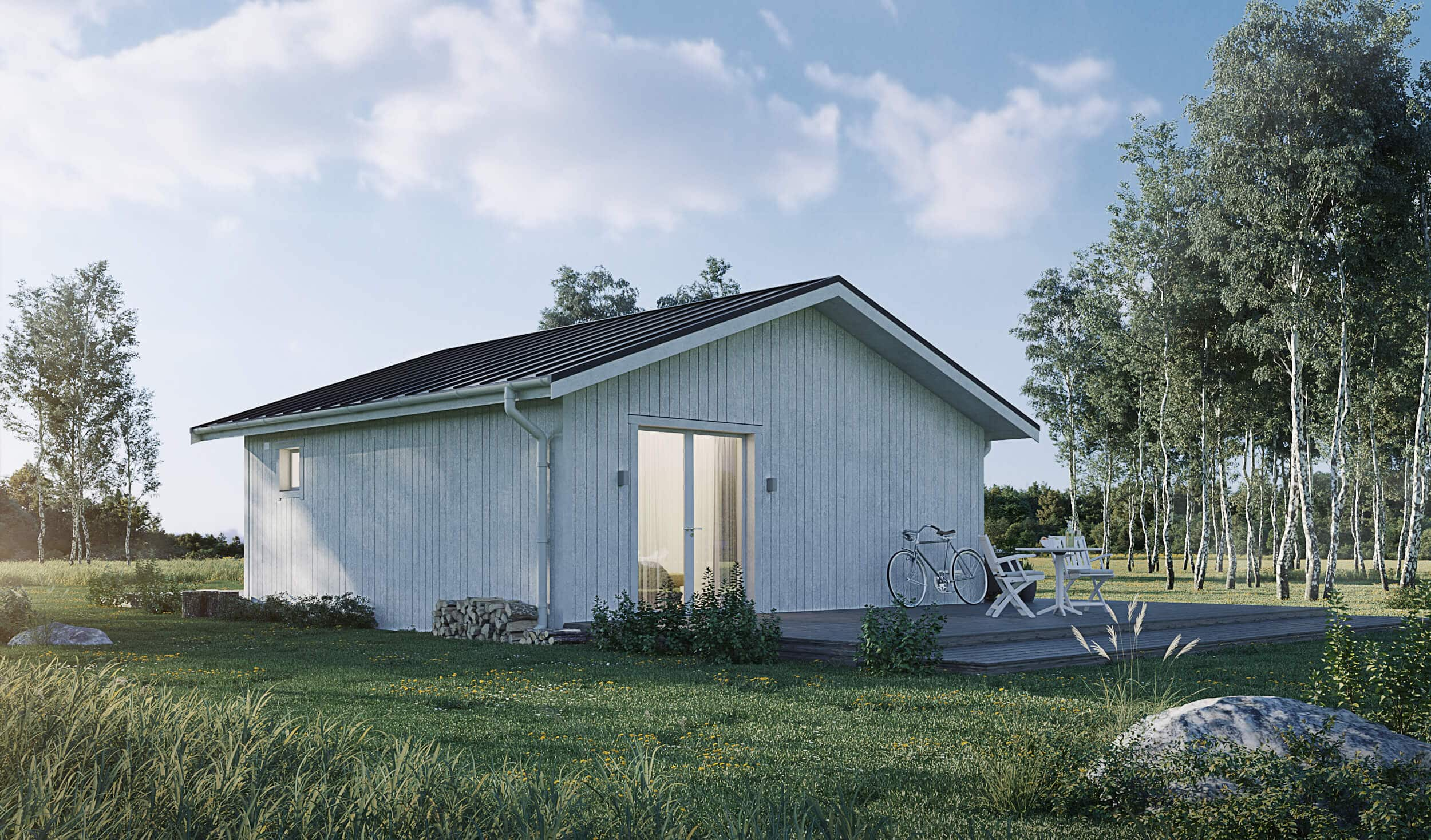 Fritidshus på 50 kvm med klassiskt sadeltak och vit fasad