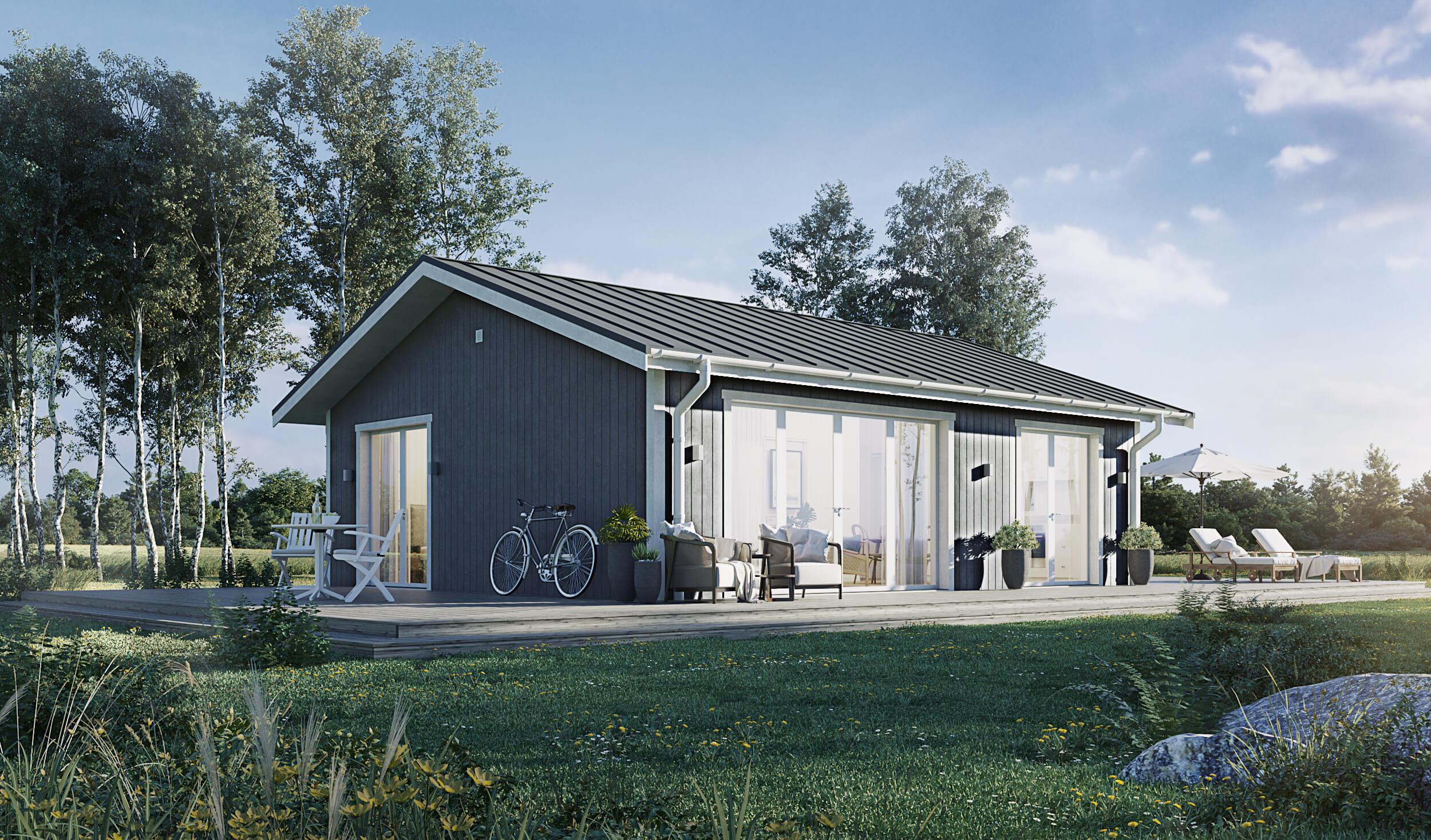 Fritidshus på 60 kvm med klassiskt sadeltak och grå exteriör