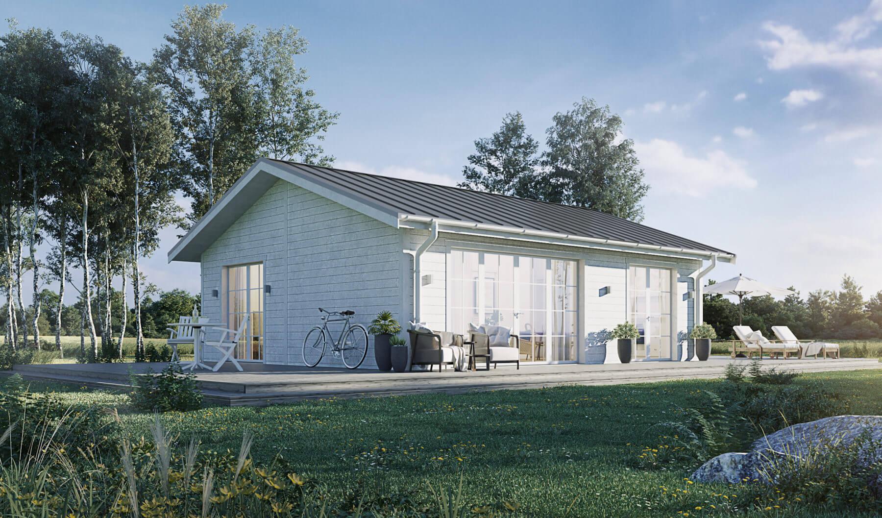 Fritidshus Klassiskt 60.2 med vit fasad