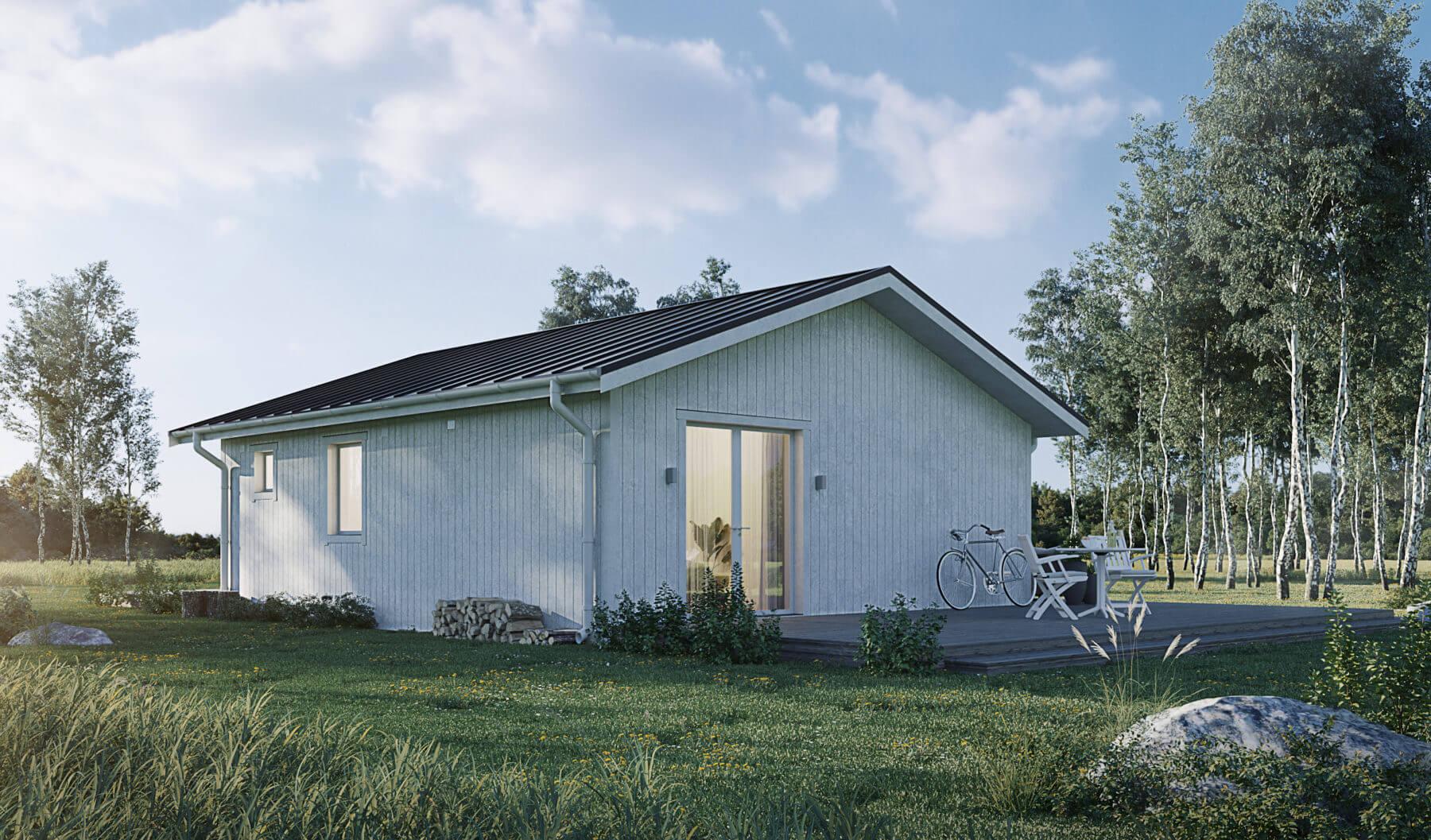 Fritidshus på 60 kvm med klassiskt sadeltak och vit exteriör