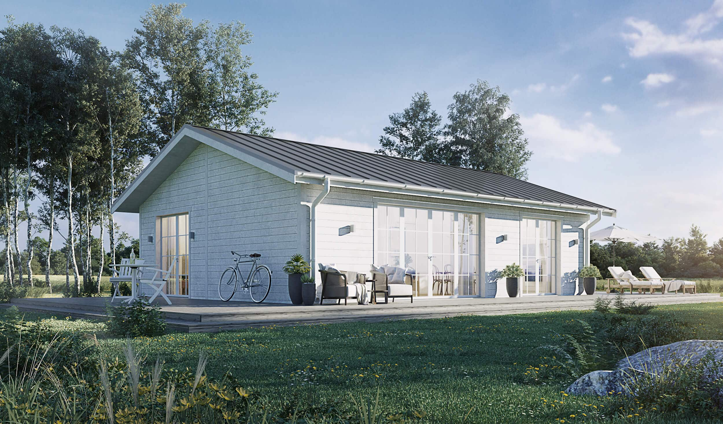 Fritidshus på 70 kvm med vit fasad och klassiskt sadeltak