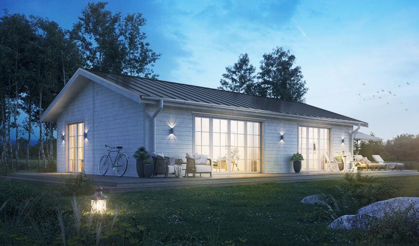 Vitt Fritidshus med invändig kvällsbelysning och klassiskt sadeltak