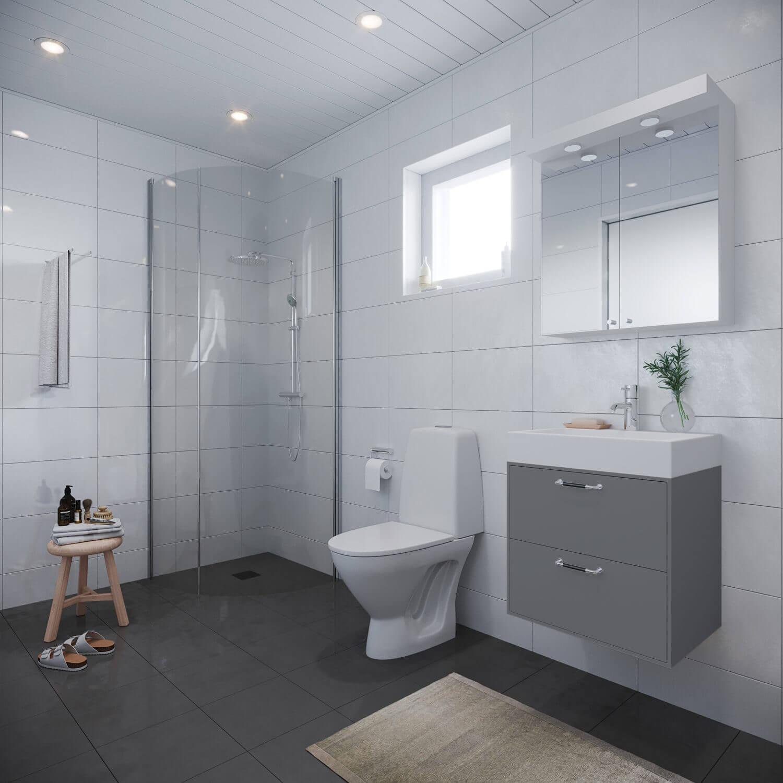 Kaklat badrum i 80 kvm stort Fritidshus med klassiskt sadeltak