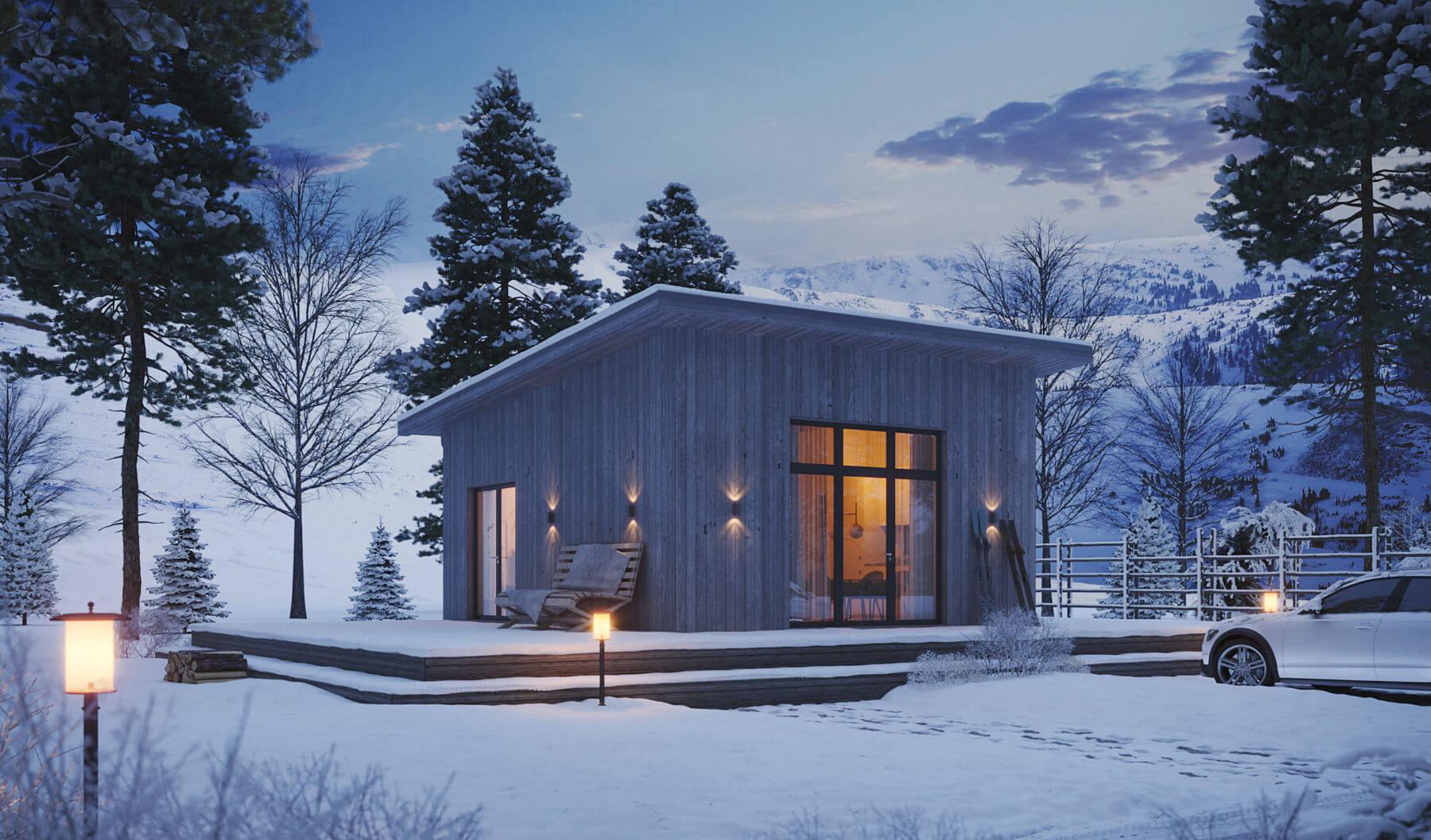 Fritidshus Pulpet 40.2 med fasad i tjärvitriol stående i vinterväder