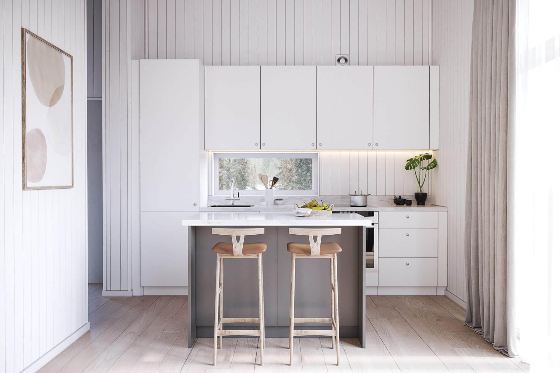 Fritidshus Pulpet 40.2 kök med vita köksluckor och köksö