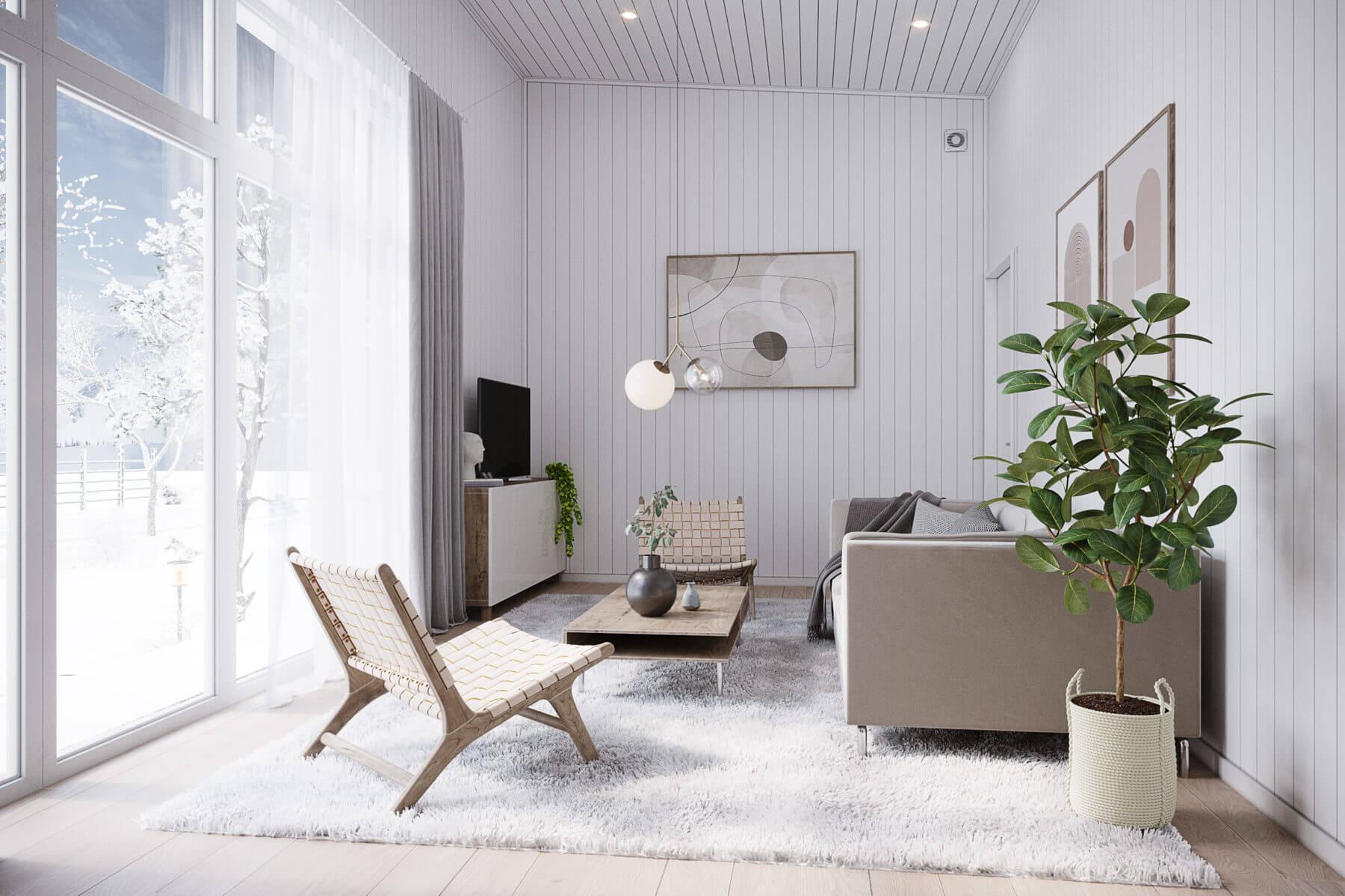 Fritidshus Pulpet 40.2 vardagsrum med soffa, soffbord och tv stående på tv-bänk